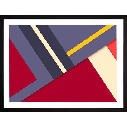Quadro Geométrico com Moldura Preta Arte Colorida Abstrata 80x60cm