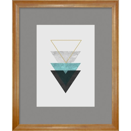 Quadro Decorativo Arte Moderna Geométrico Triângulos Verde Água 90x110cm