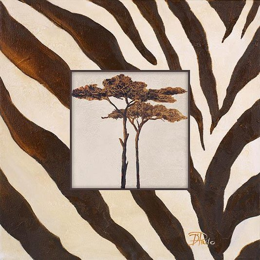 Gravura para Quadros Africana Árvores Marrons Acabamento com Listras 30x30cm