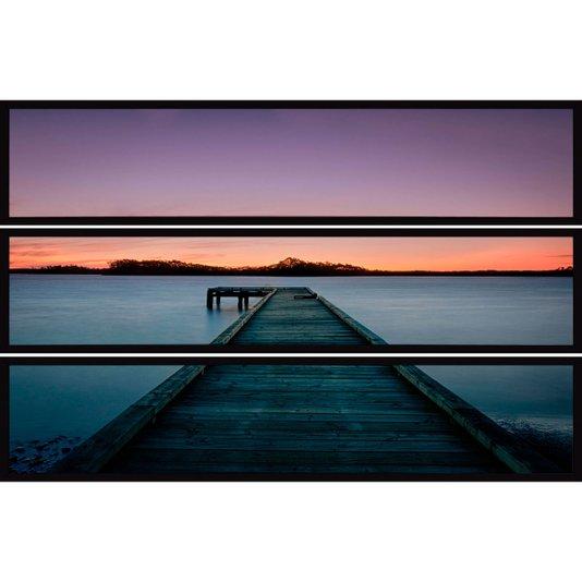 Conjunto de Quadros Lago com Pier Kit com 3 Quadros de 150x30cm