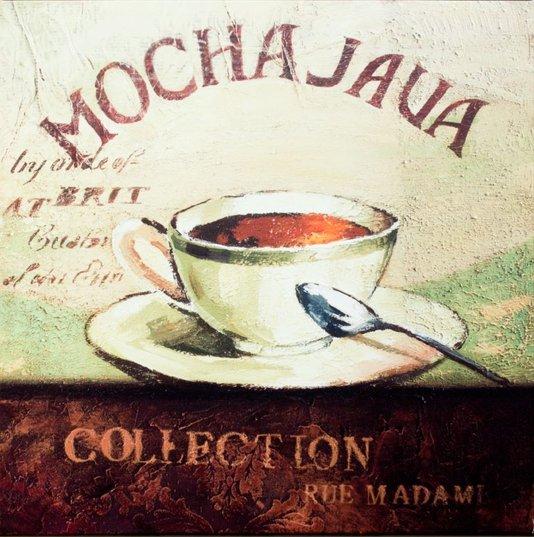 Quadro Tela Impressa Xícará de Café Mocha Java 50x50cm