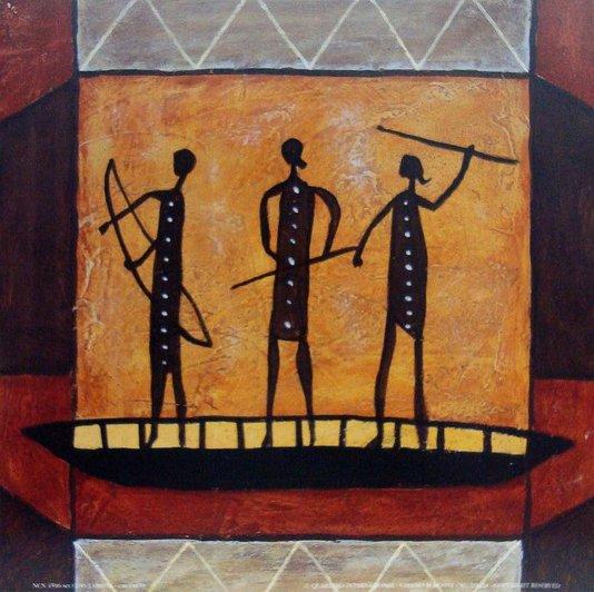 Gravura Africana para Quadros Guerreiros Africanos em Canoa 18x18cm
