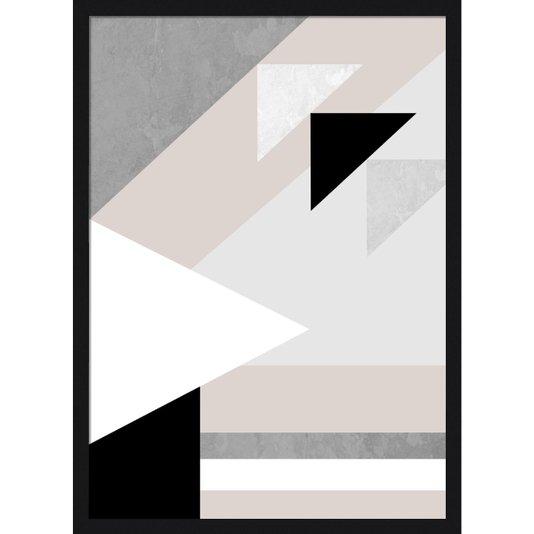 Quadro Geométrico com Moldura Preta Decorativo Arte Colorida 50x70cm
