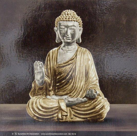 Gravura em Alto Brilho para Quadros Buda Meditando 16x16cm