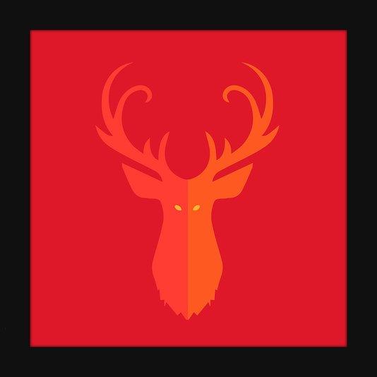 Quadro Decorativo Imagem Minimalista Ilustração Vermelha Veado 20x20cm