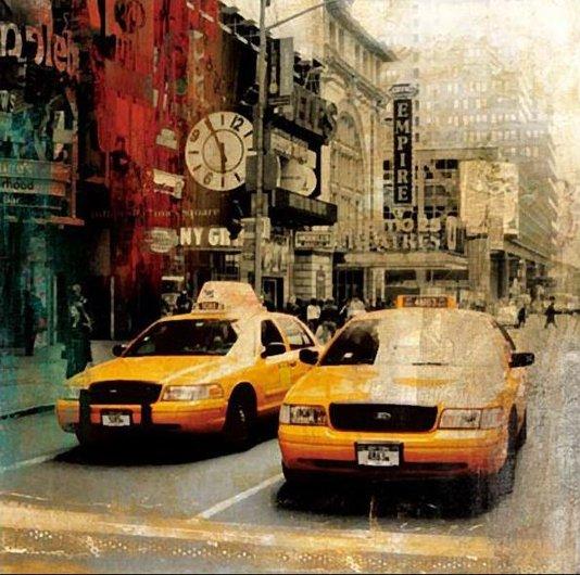 Quadro Tela Impressa Táxi Amarelo Nova York 60x60cm