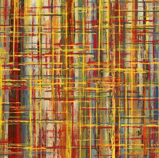 Quadro Tela Decorativa Abstrata Multicolorido 60x60cm