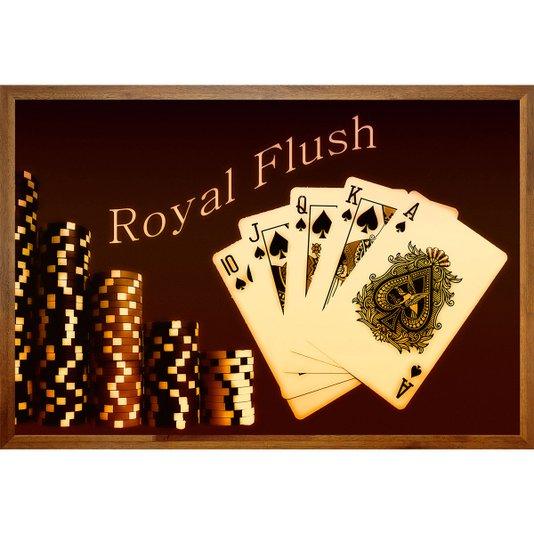 Quadro Decorativo com Moldura Rústica Baralho Royal Flush 90x60cm