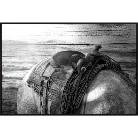 Quadro Canvas com Moldura Preta Cavalo Encilhado em Preto e Branco 120x80cm