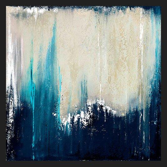 Quadro Abstrato Azul com Moldura Preta 50x50cm