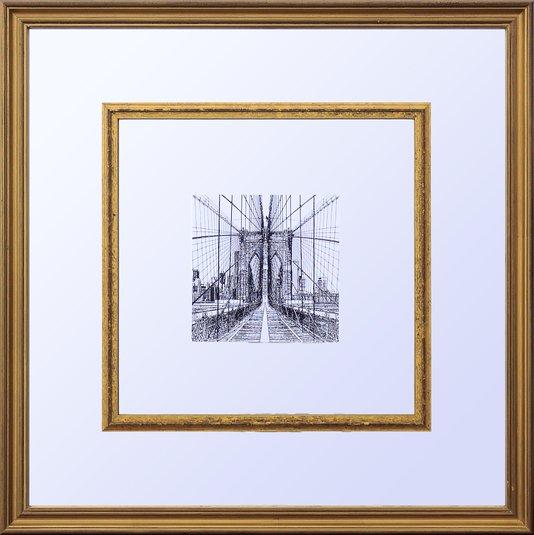 Quadro Decorativo com Espelho Cidade Nova York Ponte do Brooklyn 55x55cm