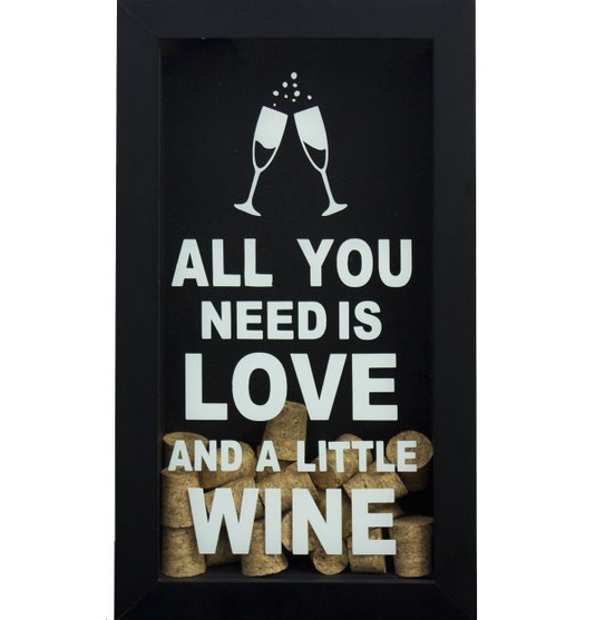 Quadro Decorativo Porta Rolhas Vinho All You Need is Love II