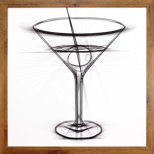 Quadro Decorativo com Moldura Rústica Desenho Coquetel Dry Martini 50x50cm