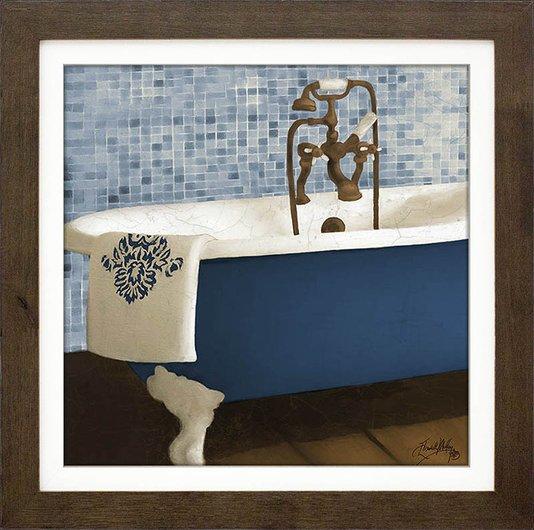 Quadro Decorativo Banheira Azul e Branca 35x35cm