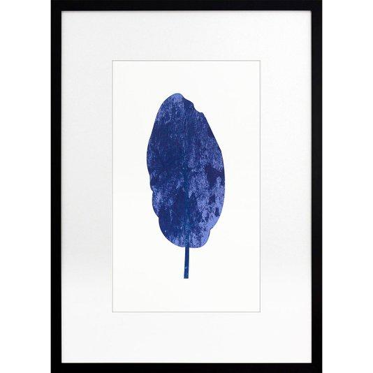 Quadro Decorativo Moderno Minimalista com Moldura Preta Folha Azul 50x70cm