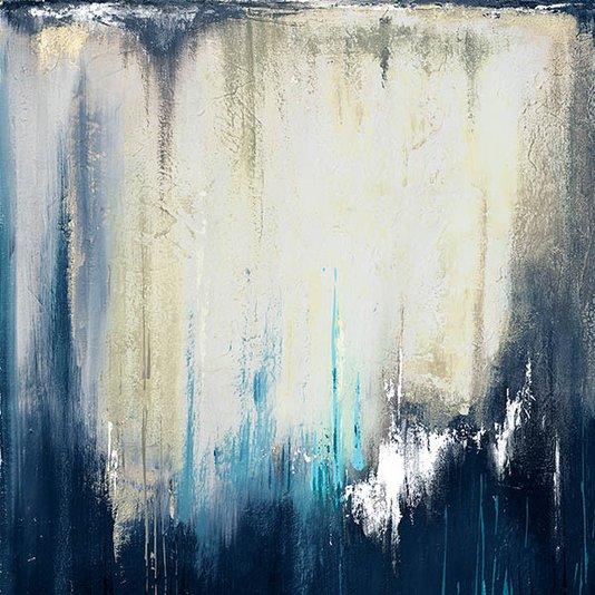 Gravura para Quadros Arte Abstrata Azul e Branca 46x46cm