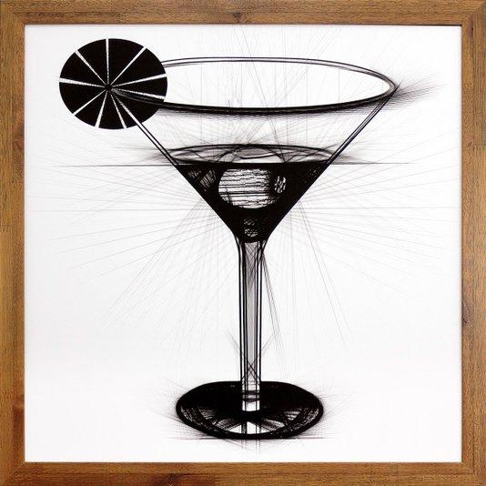 Quadro Decorativo com Moldura Rústica Coquetel Dry Martini 50x50cm