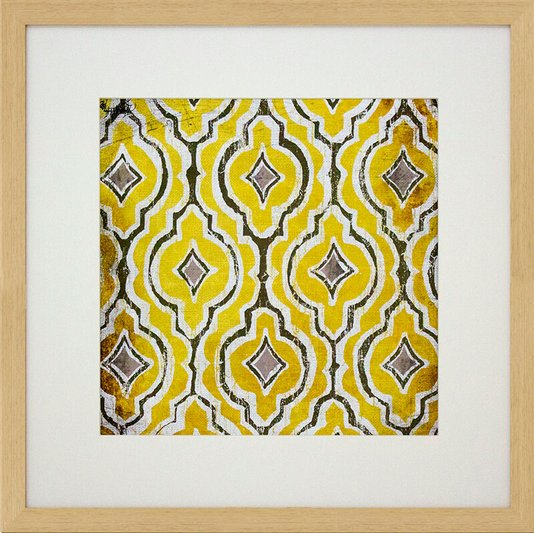 Quadro Decorativo com Estampa Étnica Amarela 45x45cm