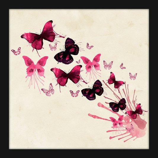 Quadro Decorativo Pequeno Borboletas Rosas Aquarela