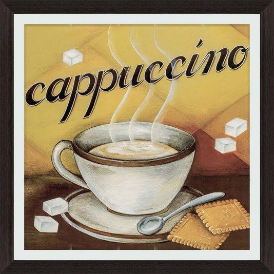 Quadro Decorativo Cappuccino com Moldura Marrom Escuro 45x45cm