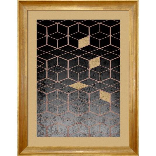 Quadro Abstrato Decor Geométrico Preto e Dourado II 70x90cm