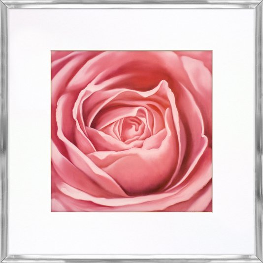 Quadro Decorativo Moldura em Alumínio Flor Rosa 45x45cm