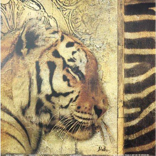 Gravura para Quadros Africana Onça com Detalhes Abstratos 30x30cm