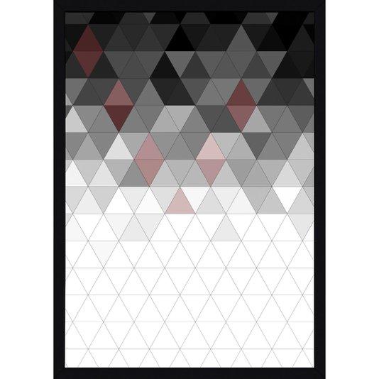 Quadro com Moldura Preta Decorativo Arte Geométrica Colorida 50x70cm