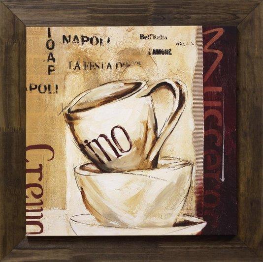 Quadro Tela Decorativa com Moldura Rústica Xícara de Café 75x75cm