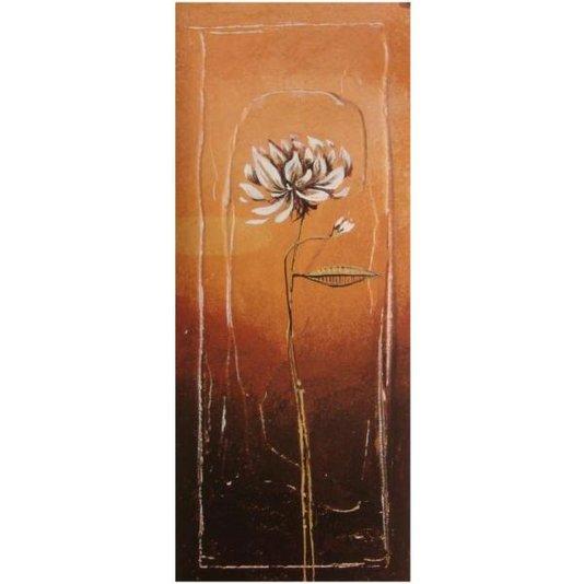 Gravura para Quadros Floral Fundo Laranja 20x50cm