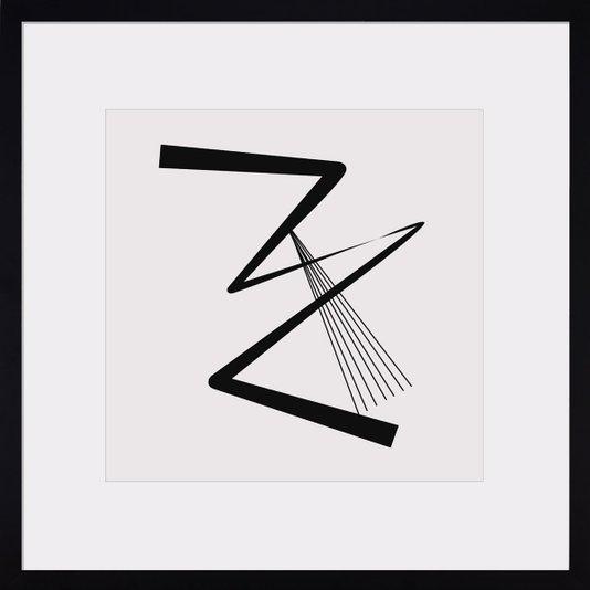 Quadro Decorativo Arte Moderna Abstrata com Moldura Preta 60x60cm