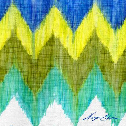 Gravura Abstrata para Quadros Chevron Brilhante Ii de Hugo Edwins 46x46cm