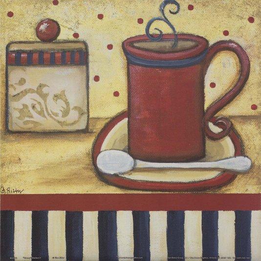 Gravura para Quadros Xícara de Café Cozinha da Vovó II - 30x30cm