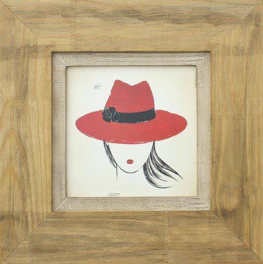 Quadro Decorativo Diva Chapéu Vermelho 60x60cm
