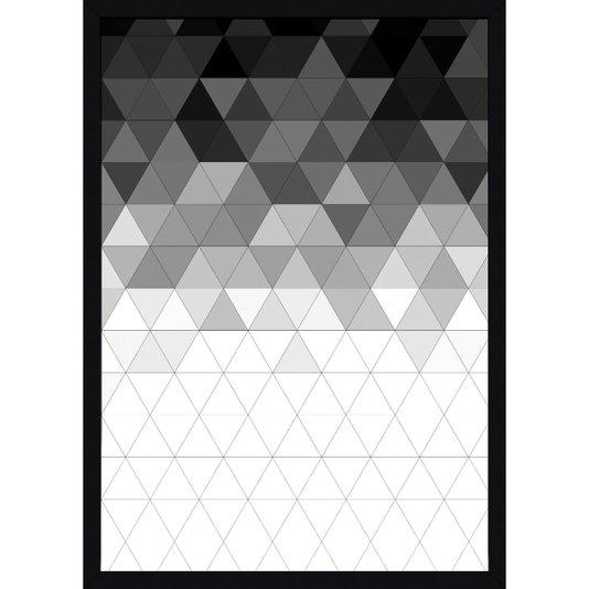 Quadro com Moldura Preta Decorativo Arte Geométrica em Preto e Branco 50x70cm
