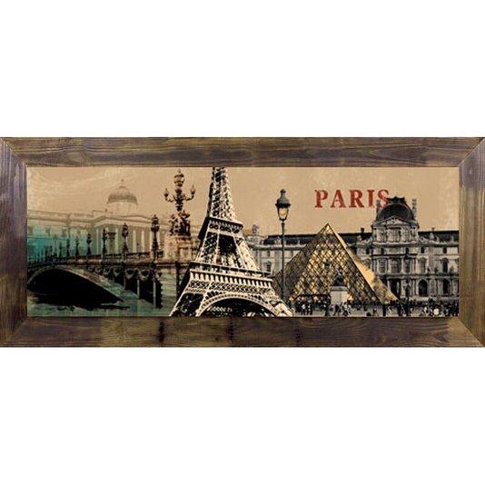 Quadro Tela Decorativa com Moldura Rústica Paris Torre Eiffel 170x70cm