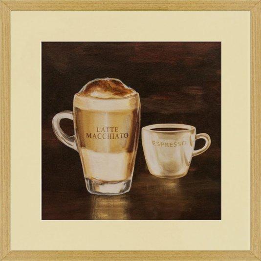 Quadro Decorativo Café Expresso e Latte Macchiato 50x50cm