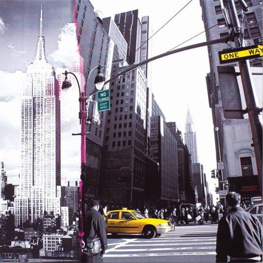 Quadro Tela Impressa NYC Empire State e Taxi Amarelo 60x60cm