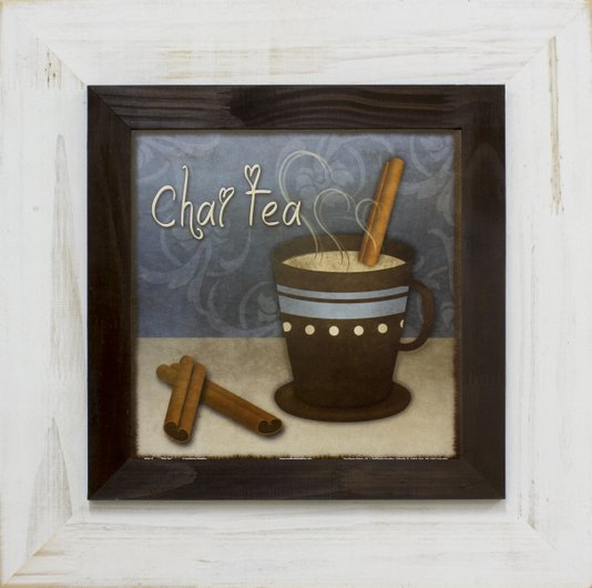 Quadro Decorativo Rústico Chá Indiano ou Chai Tea s/ Vidro 50x50cm