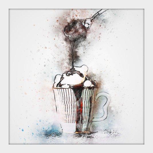 Quadro Decorativo Pequeno Caneca de Chocolate Aquarela Mold. Branca