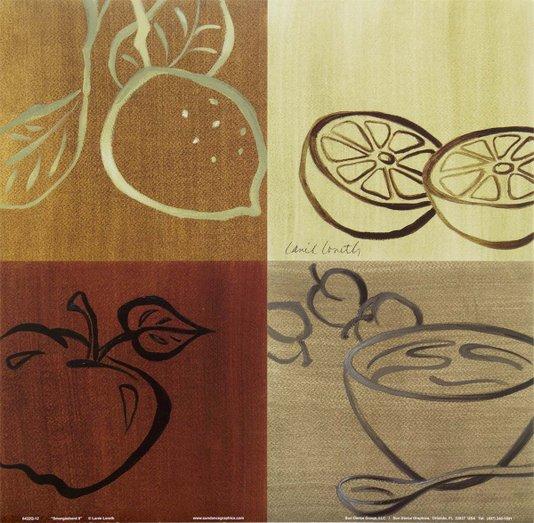 Gravura para Quadros Cozinha Variedade de Frutas 30x30cm