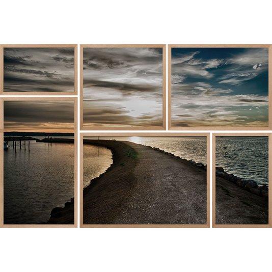 Conjunto de Quadros Praia Flensburg Kit com 6 Quadros 150x100cm