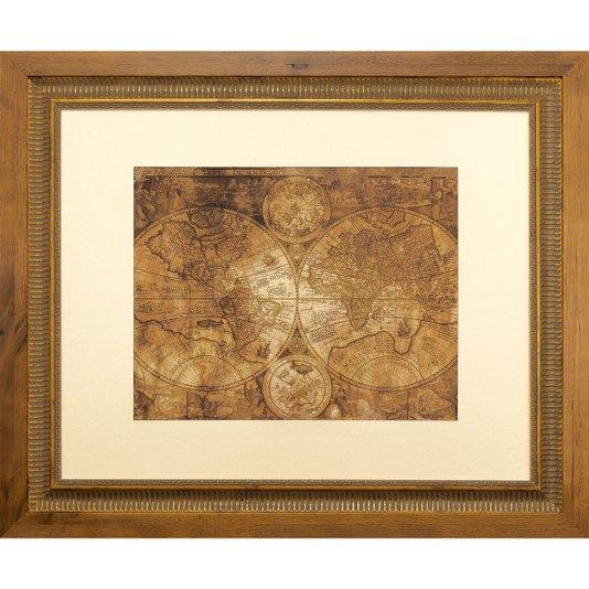 Quadro Decorativo com Moldura Dupla Mapa Mundi Envelhecido 60x50cm