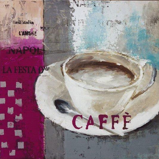 Quadro Tela Impressa Xícara de Café 60x60cm