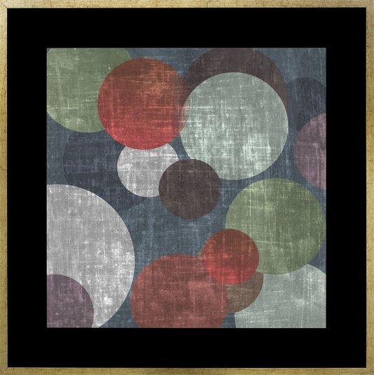Quadro Decorativo Abstrato com Moldura Círculos Coloridos 90x90cm