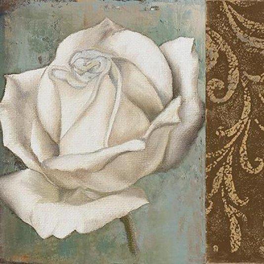 Gravura para Quadros Floral Rosa Branca e Detalhe Abstrato Marrom 30x30cm