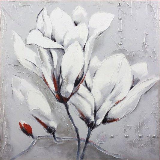 Quadro Tela Impressa Flor Branca 100x100cm