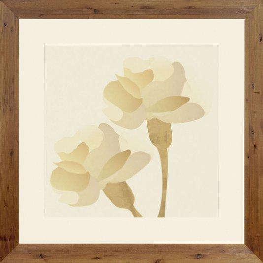 Quadro Decorativo Floral Flores Cor Bege com Moldura Rústica 100x100cm