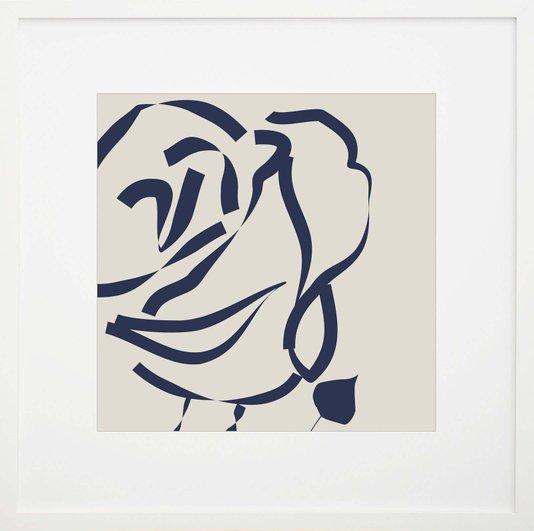 Quadro Decorativo Flor Azul com Moldura Branca 60x60cm