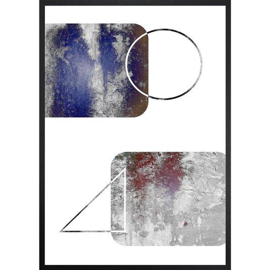 Quadro Abstrato Decorativo Círculo e Triângulo 70x100cm